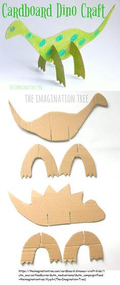 Cardboard Dinosaur Craft for Kids! - The Imagination Tree Craft Stick Crafts, Crafts To Do, Crafts For Kids, Paper Crafts, Dinosaur Crafts Kids, Toddler Crafts, Imagination Tree, Creative Activities For Kids, Classroom Crafts