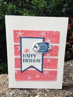 Made this card with new Stampin' Up! goodies while on vacation in North Carolina.  Sometimes working with limited supplies can really stimulate the creative juices!  Made with the new Seaside Shore stamp set and matching paper from Stampin' Up!