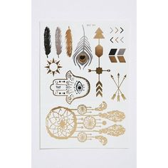 Tanesha Metallic Feather Temporary Tattoo Set ($2.61) ❤ liked on Polyvore featuring accessories, body art and yellow