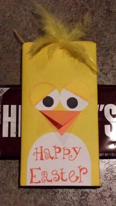 Easter chick made out of a Giant Hershey's chocolate bar. #Easter candy