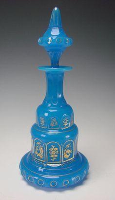 Antique Bohemian Blue Opaline Gilt Glass Perfume Scent Bottle