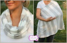 Hold Me Close Nursing Scarf - Gray and White Stripes Super Thin Nursing Scarf, Nursing Cover, Infinity Scarf, Infinity Nursing Scarf