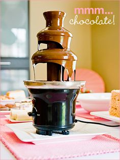 Chocolate fountain for my lingerie bridal shower! My mother in law to be has one...Yay!