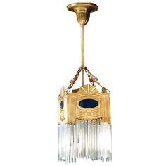 Stile Liberty-Pendelleuchte mit Kristallglas TRENTINO II von Art Nouveau Lamps