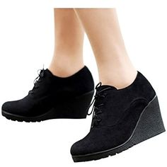 Women's Fashion Casual Outdoor Low Wedges Heels Scrub Leather Lace Up Booties Shoes