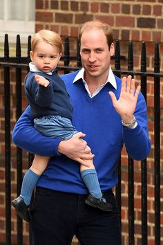 Prince George and his father Prince William arrive to meet baby sister.