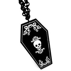 Coffin Large Black Acrylic Necklace by Curiology ($19) ❤ liked on Polyvore featuring jewelry, necklaces, lucite necklace, goth necklace, acrylic necklace, lucite jewelry and acrylic pendants