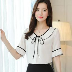 Summer New Chiffon Shirt Female Round Neck Bow Tie Lotus Leaf Blouse Women Ruffle Sleeve Short-Sleeved Ladies Tops Plus Size Cute Blouses, Shirt Blouses, Blouses For Women, Ladies Blouses, Ladies Tops, Dress Neck Designs, Blouse Designs, Casual Skirt Outfits, Plus Size Shirts
