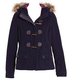 Navy duffle jacket with fur collar and wood toggles from Just Jeans