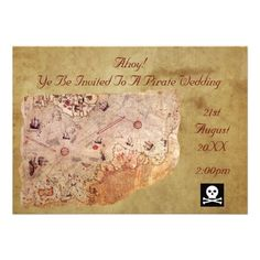 A Pirate Wedding Personalized Announcement by VintageFactory Map Invitation, Pirate Wedding, Treasure Maps, Sentimental Gifts, Custom Wedding Invitations, Wedding Gifts, Wedding Stuff, Wedding Ideas, Personalized Wedding
