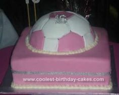 Homemade Sweet 16th Soccer Cake: I made this Sweet 16th Soccer Cake for my daughter's 16th Birthday party. She is a mad footballer and a girly girl...came to a compromise by making her