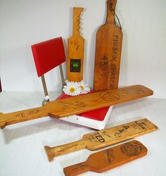 Collection of Vintage Fraternity Hazing Paddles  4 Handmade