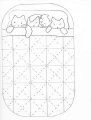 Like the idea of this stitchery for the label on cat quilt