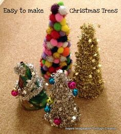 Inspire imagination through creation: easy to make Christmas trees using empty cereal boxes.