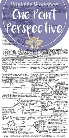 This printable worksheet walks art students through the steps to create a one point perspective. On the back of the worksheet is space to practice one point perspective on the back.#onepointperspective #art #education #drawing