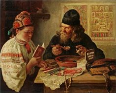 Rest on the way from Kiev  by Vladimir Makovsky -  Russian painter, art collector, and teacher