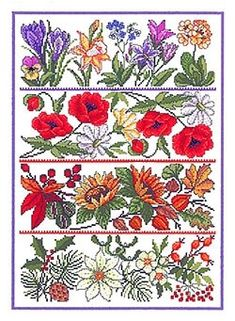 From the icy elegance of winter to the bright optimism of summer, this stunning pattern celebrates the beauty of each season with colourful stitches! These kits include the pattern/chart, plain white Aida cloth, Crochet Tools, Knit Crochet, Embroidery Kits, Cross Stitch Embroidery, Yarn Shop, Needlework, Decorative Boxes, Creations, Seasons