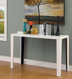 Furniture of America Lorzi High Gloss Lacquer Sofa Table - Overstock™ Shopping - Great Deals on Furniture of America Coffee, Sofa & End Tables White Sofa Table, Modern Sofa Table, Wood Sofa Table, Sofa End Tables, Console Table, Occasional Tables, Furniture Direct, Entryway Furniture, Furniture For Small Spaces