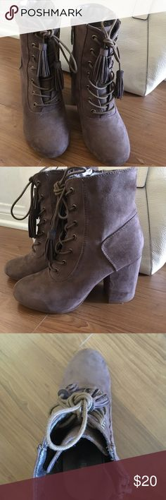 Cute lace up booties Taupe booties with side zip. 7.5 block heel 3in Shoes Ankle Boots & Booties