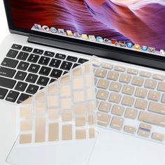 Ultra Thin Champagne Golden Soft TPU Silicone Keyboard Cover Skin Protector (Europe Layout UK Version) for MacBook Pro with Retina Display and MacBook Air 13 inch, Gold Macbook Pro, Macbook Keyboard Cover, Macbook Air Cover, Keyboard Stickers, Macbook Case, Imac Laptop, Laptop Computers, Macbook Accessories, Computer Accessories