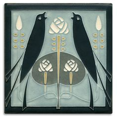 8x8 Songbirds - Grey Blue from Motawi Tileworks♥༺✿༻♥