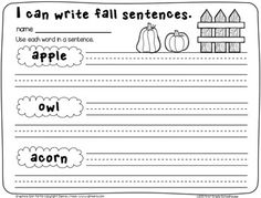 Fall Writing for First Grade
