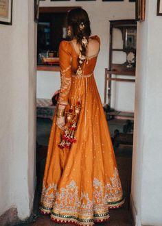 Orange Gold Embroidered Anarkali with Latkans - Pakistani dresses Pakistani Fashion Party Wear, Pakistani Wedding Outfits, Pakistani Dresses Casual, Indian Bridal Outfits, Pakistani Dress Design, Beautiful Pakistani Dresses, Pakistani Clothing, Wedding Hijab, Punjabi Wedding