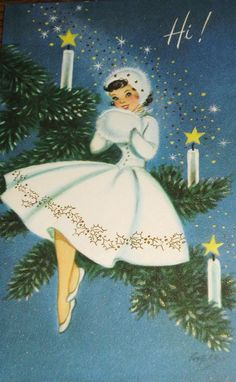 Such a lovely vintage Christmas card (and outfit that she's wearing). #vintage #1950s #Christmas