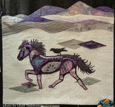 """""""Brimill - Icelandic Horse"""" by Georgia Thorne. Zentangle design. Judge's Recognition, 2015 AZQG. Photo by Quilt Inspiration"""