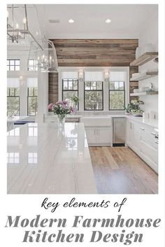 What makes a beautiful modern farmhouse kitchen? Here we feature some of the most prevalent, and important, key elements of modern farmhouse kitchen design that we are seeing in some of the most stunning kitchens today interior design kitchen Modern Farmhouse Kitchens, Modern Farmhouse Style, Rustic Modern, Farmhouse Interior, Farmhouse Decor, Farmhouse Flooring, Farmhouse Sinks, Farmhouse Ideas, Modern Decor