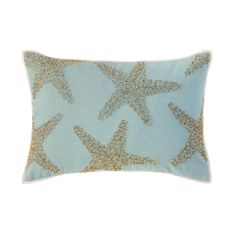 Beaded silver starfish take their star turn, glittering against bright hues of Lagoon, Lime or Coral cotton for the perfect summery touch of sparkle. #decorativepillows