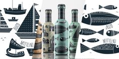 Taste of Greece is Ouzo, a traditional Greek alcoholic beverage. The  concept from Dolphins // Communication Design was to embody Greece and all  its traditions. The illustrations are fine and detailed. I love the color  scheme and how each bottle has both illustrations and intricate patterns.
