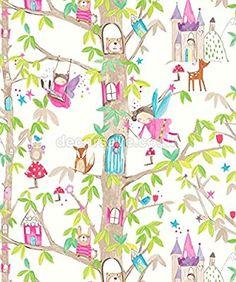 Arthouse Imagine Fun Woodland Fairies White Wallpaper 667001 - Glitter Childrens