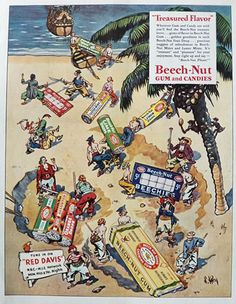 1935 Beechnut Candy & Gum Ad ~ Buried Treasure, Pirates