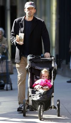 Ben Affleck pushes a City Series by Baby Jogger