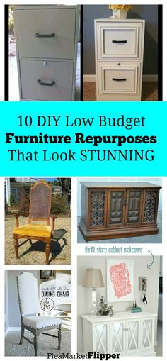 I LOVE it when I can make furniture look EXPENSIVE but it really cost me next to nothing. Love repurposing old worn out furniture pieces. This is some great inspiration to redo some great furniture pieces on the cheap. Desks, chairs, & entertainment centers can all be made new again.