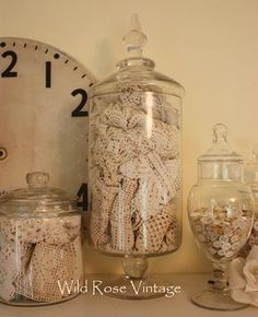 old lace and glassware on display to enjoy!