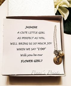 Hand stamped personalized flower girl necklace. by PENNISPRINTS