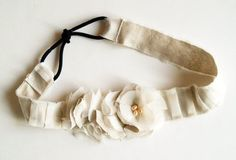 Pleated headband  (with ponytail holders for stretch)