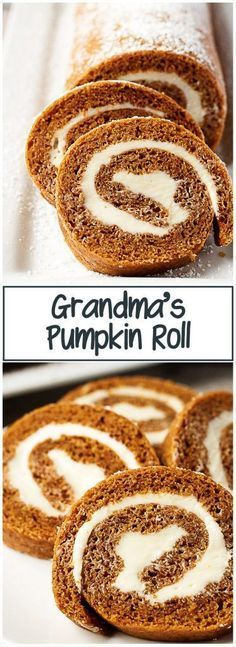 fall desserts Grandma's Pumpkin Roll is one of my familys favorite fall recipes. Sweetened cream cheese filling rolled in a light and moist pumpkin cake makes this dessert unforgettable Fall Dessert Recipes, Fall Desserts, Just Desserts, Fall Recipes, Delicious Desserts, Hotdish Recipes, Healthy Recipes, Pumpkin Roll Cake, Puddings