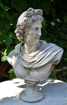 Apollo classical Greek bust statue a beautiful bust of Apollo classical Greek god and son of Zeus hand cast at our workshops in Sussex in frost proof