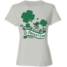 #StPatricksDay #Clovers & #Hat #AshGrey #CottonTshirt by #MoonDreamsMusic #RelaxedFit