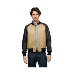 Club Monaco Spring Varsity Jacket ($339) ❤ liked on Polyvore featuring men's fashion, men's clothing, men's outerwear and men's jackets