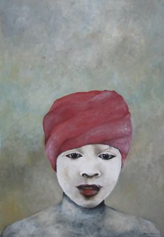 Child covered in white - acryl on canvas - 70x100 cm - Marike Meurs