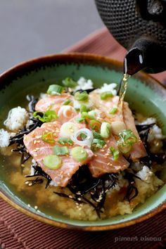 Japanese Salmon Chazuke (Green tea rice soup) | @andwhatelse