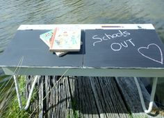 White Shabby Chic School Desk with chalkboard top. www.capeoflove.com