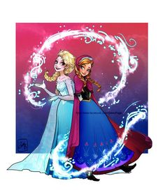 Anna & Elsa (Drawing by ZoweyPage @Facebook) #Frozen