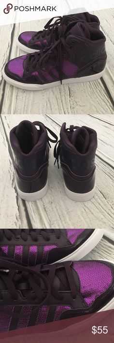 online retailer b4b48 22e50 BRAND NEW IN BOX ADIDAS EXTABALL SEQUIN HIGH TOPS! So cute and fun! BRAND  NEW in box. Adidas Shoes Sneakers