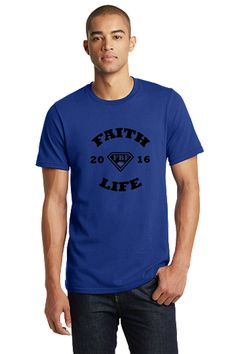 FBF Faith Life Men's Fitted Crew - Blue A signature FBF style, this super-soft fitted crew is instantly loved by all who wear it. 100% combed cotton jersey; 4.3-oz; 1x1 baby rib-knit set-in collar. S-