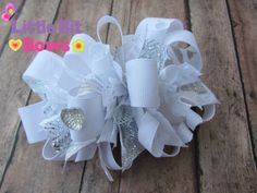 White and Silver Boutique Funky Bow by littlebitbows on Etsy